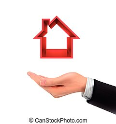 3d hand holding real estate icon