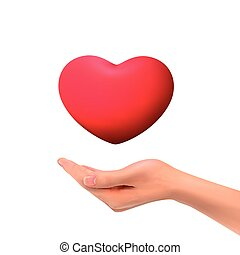 3d hand holding red heart symbol