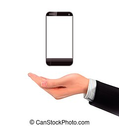 3d hand holding smartphone