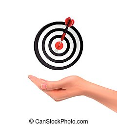 3d hand holding target button