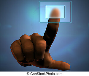 3D hand pushing transparent button