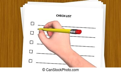 3D hand put a tick in the checklist