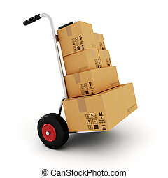 3d  hand truck on white background