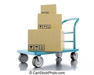 3D hand truck with boxes