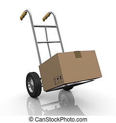 3d hand truck with parcel