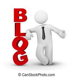 3d, handlowiec, przedstawiając, słowo, blog, pojęcie