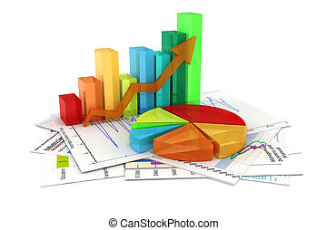 3d, handlowy, wykres, i, dokumenty