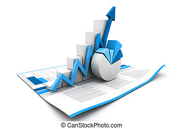 3d, handlowy wzrost, wykres