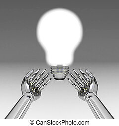 3d hands with light bulb