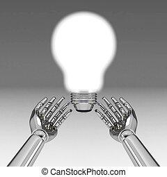 3d hands with light bulb