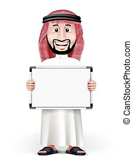 3D Handsome Saudi Arab Man in Traditional Dress Stand with...