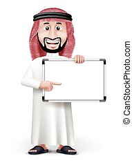 3D Handsome Saudi Arab Man in Traditional Dress Stand...