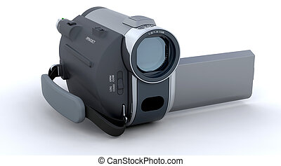 3D Handy camera isolated over a white background