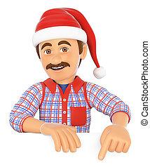 3d, handyman, 指すこと, 下方に, ∥で∥, a, サンタクロース, hat., 余白