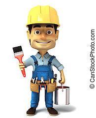 3d, handyman, com, lata pintura