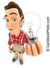 3d handyman holding a light bulb