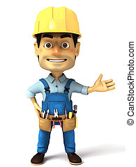 3d handyman normal pose - 3d render image series of handyman