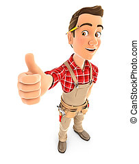 3d handyman standing with thumb up