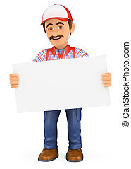 3D Handyman worker standing with a blank poster