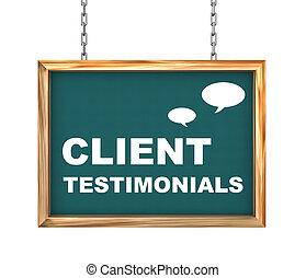 3d hanging banner - client testimonials