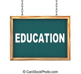 3d hanging banner - education
