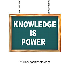 3d hanging banner - knowledge is power - 3d rendering of...