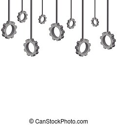3D hanging gears isolated on white background