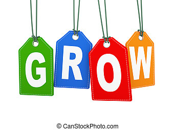 3d hanging tag label word text grow