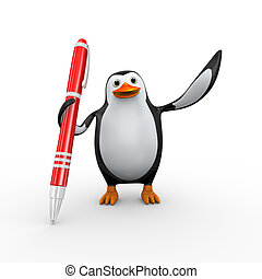 3d happy excited penguin with pen