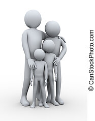 3d illustration of mother and father with their children. 3d rendering of people - human character.
