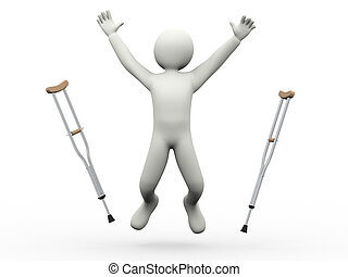 3d happy man jumping throwing crutches