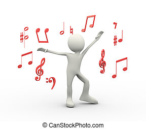 3d happy singing dancing person with musical notes