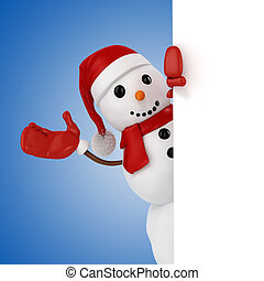 3d happy snowman with santa hat behind a blank board on blue...