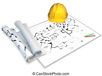 3d hardhat, generic blueprints and pencils - 3d construction...