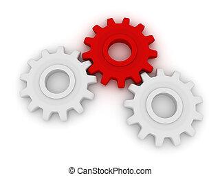 3d, hart, van, de, mechanism., twee, witte , en, een, rood, toestellen, lie.
