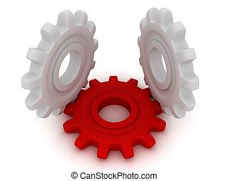 3d, hart, van, de, mechanism., twee, witte , toestellen, leugen, en, een, tandwiel, stand.