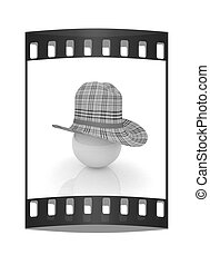 3d hats on white ball. Sapport icon. The film strip