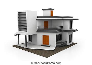 3d, Haus, Modell