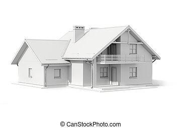 3d, Haus, Plan, Weiß, Hintergrund