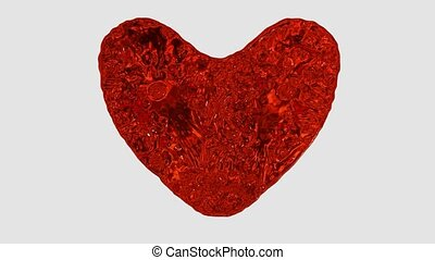 3d HD animation of heart made of red flowing liquids, abstract valentine's day symbol