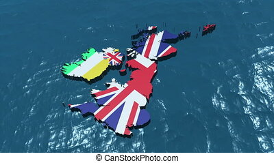 3D HD United Kingdom Map Rotate