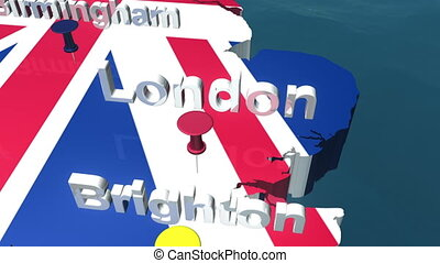 3D HD United Kingdom Map with Names