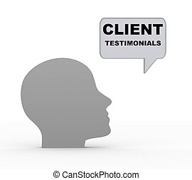 3d head and client testimonials - 3d render of human head...