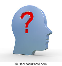 3d head and question mark