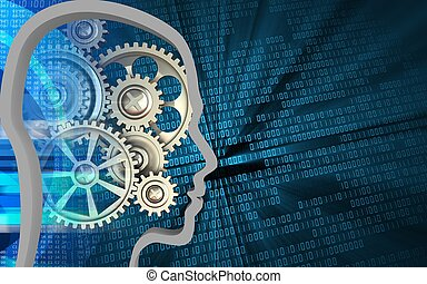 3d head contour - 3d illustration of gears over binary...