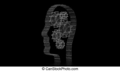 3D head shape, gears - creativity concept
