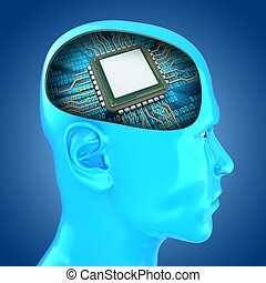 3d head with microchip - 3d illustration of microchip inside...