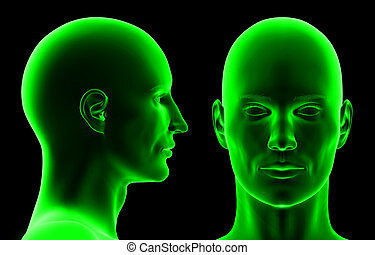 3D heads isolated on black background.
