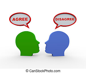 3d heads with agree disagree speech bubble