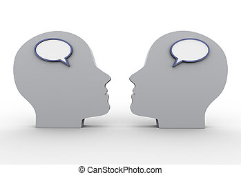3d heads with speech bubble